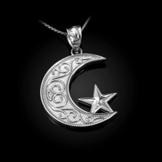 Sterling Silver Islamic Crescent Moon Pendant Necklace