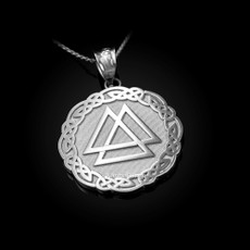 Sterling Silver Celtic Valknut Viking Warriors Pendant Necklace