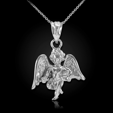 Sterling Silver Angel Cherub  Pendant Necklace