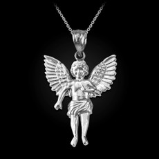 Sterling Silver Cherub Guardian Angel Pendant Necklace (L)