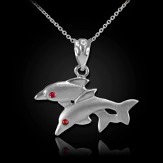Sterling Silver Red CZ Two Dolphins Pendant Necklace