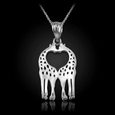 Sterling Silver Open Heart Kissing Giraffes Charm Necklace