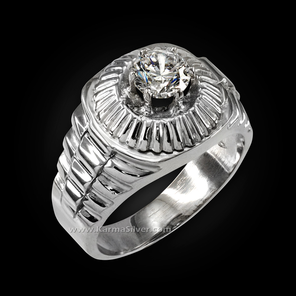 Sterling Silver Ring Stone Ring Mens CZ Ring