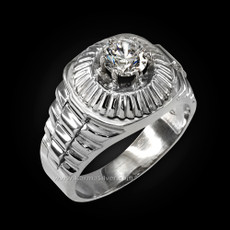 Sterling Silver Mens Watchband Design CZ Ring