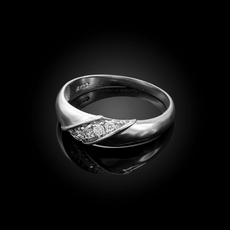 6MM Mens Diamond Wedding Band in Sterling Silver