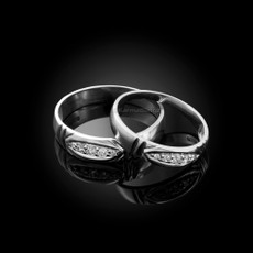 Sterling Silver Diamond Wedding Ring Band Set
