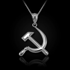 Sterling Silver Hammer and Sickle Pendant Necklace