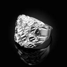 Sterling Silver Sparkle Cut Nugget Ring