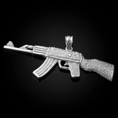 Sterling Silver AK-47 Rifle Pendant