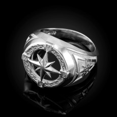 Silver Compass Ring for Men
