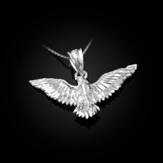 Sterling Silver Falcon Eagle DC Pendant Necklace