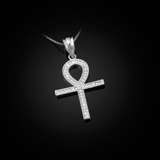 Sterling Silver Egyptian Ankh Cross Diamond Pendant Necklace