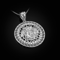 Sterling Silver  Medusa CZ Medallion Pendant Necklace