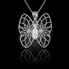 Sterling Silver Filigree Butterfly Diamond Pendant Necklace