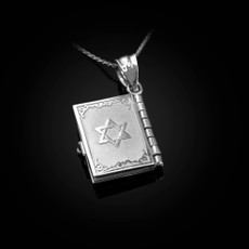 Sterling Silver Judaic 10 Commandments 3D Jewish Bible Necklace