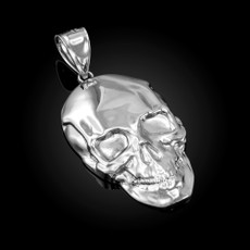 Polished Sterling Silver Mens Skull  Pendant