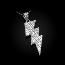 Sterling Silver Lightning Bolt DC Pendant Necklace