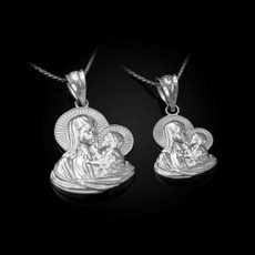 Sterling Sterling Virgin Mary Baby Jesus Charm Necklace (S/L)