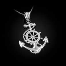 Sterling Silver Nautical Anchor Pendant Necklace