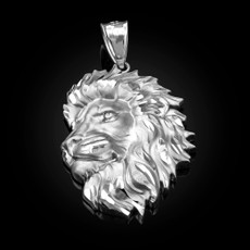 Sterling Silver Lion Face Sparkle Cut Pendant (S/L)