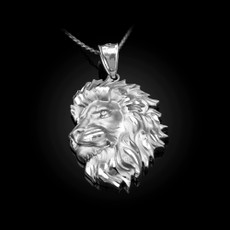 Sterling Silver Lion Face Sparkle Cut Pendant Necklace