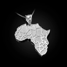 Sterling Silver Africa Country Map Pendant Necklace