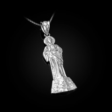 Sterling Silver St. Jude Diamond-Cut Pendant Necklace