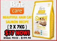 Brit Care Beutiful Hair Cat Salmon Recipe (2 For $77)