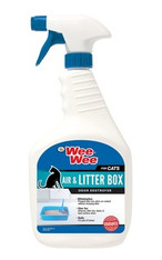 Safe, effective and guaranteed to work, Four Paws Wee Wee Air & Litter Box Odor Destroyer for Cats 32oz eliminates pungent airborne, litter box and hard-surface odors on contact without masking or heavy fragrances. For use in air or on fabrics, carpets or hard surfaces.