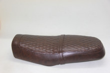 Low profile cafe racer seat in dark brown