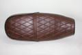 "11.5"" x 28.75"" Dark brown with black piping seat"