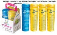 Spa Frog Mineral Sanitizer Refill Kit- 1 Mineral & 3 Bromine Cartridges