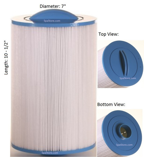 "Dimension One Spas (D1) Top Load Filter: AK-9026, OEM: 1561-10, Pleatco: PTL55XW-F2M , Unicel: 7CH-552 , Filbur: FC-0465, Diameter: 7"", Length: 10-1/2"""