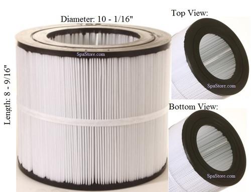 """Dimension One Spas (D1) Filter: AK-8001, OEM: 59054000, R173213,1561-26, Pleatco: PAP50-4 , Unicel: C-9405 , Filbur: FC-0684, Diameter: 10-1/16"""", Length: 8-9/16"""""""
