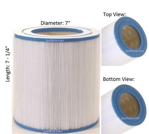 "Master Spas Filter: AK-60034, Pleatco: PMA30-2002-R , Unicel: C-7330 , Filbur: FC-1003, Diameter: 7"", Length: 7-1/4"""