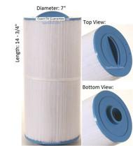 "Caldera Spas Filter: AK-6050, OEM: 33017, Pleatco: PCD75 , Unicel: C-7479 , Filbur: FC-3085, Diameter: 7"", Length: 14-3/4"""