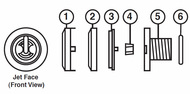 2000-2007 Sundance® Jacuzzi® Pulsator Wrist Palm Jet Kit, lounge, lounger, captain 6540-336,6540-350,6540-330,6540-309,6660-002