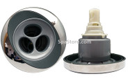 """Jacuzzi® PowerPro FX2 V3 is roto massage style jet with a stainless over gray 5-5/16"""" face. For 2008+01/08 to 08/4/13 J-400 Series"""