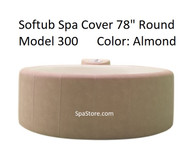 """Softub Cover Lid Top 300+ Round 78"""" Almond, Folding Cover, Locking Straps"""