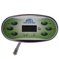 2 Pump Artesian South Seas Spas™ Topside Control Panel 6 Buttons With Overlay 33-0648-08-2P