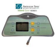 1 Pump 2007-2011 Artesian Spas™ Island Series 800D & 801D Topside Control Panel With Overlay Sold As Kit, 33-0655-08-1P