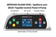 Overlay Only Artesian Spas Island Series Topside Control Panel TP800 With 3-Pumps 11-1303-08-3P, Years 2013+