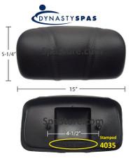 "2013+ Dynasty Spas® OEM Pillow 10-1/4"" Stitched Black 4035 Engraved On Back 2 Mounting Posts S-01-4035BK"