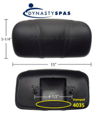 "2013+ Dynasty Spas® OEM Pillow 10-1/4"" Stitched Black 4035 Engraved On Back 2 Mounting Posts S-01-4035BK, 14769"