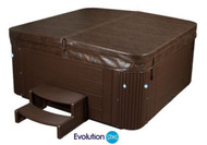 "Replacement Spa Cover Costco Evolution Spas Model Hilton 120 Mahogany Color Heavy Duty 5-3"" Tapered"