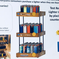 3 Tier Wooden Display for Dispensaries-150 Pk Lighters