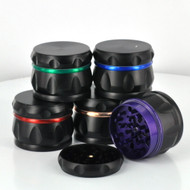 63MM Heavy Black 4 Piece Grinder (Assorted Colored Accents)