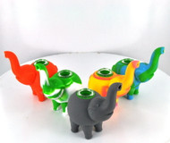 """Silicon Elephant Pipe With Glass Bowl 4.75"""""""