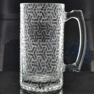 Sacred Geometry Laser Engraved Heavy Glass 24oz Beer Stein (Full Wrap With Custom Logo)