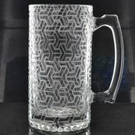 Sacred Geometry Laser Engraved Heavy Glass 24oz Beer Stein (Full Wrap With Custom Logo)